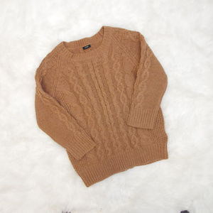 J Crew Italian Camel Cable Knit Sweater Merino